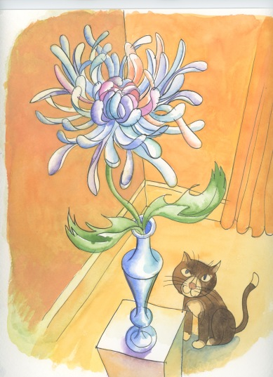 cat-and-chrysanth