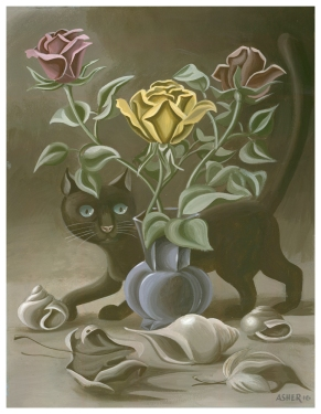 cat-and-roses